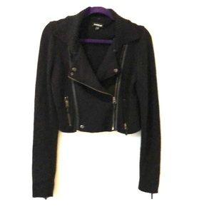Bebe Knit Cropped Moto Jacket